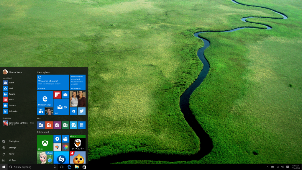 Windows 10 desktop and start button.