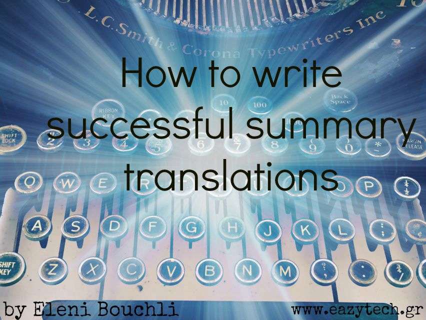 How to write successful summary translations